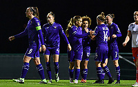 Anderlecht's players pictured celebrating after scoring a goal during a female soccer game between RSC Anderlecht Dames and SV Zulte Waregem on the 10 th matchday of the 2020 - 2021 season of Belgian Womens Super League , friday 18 th of December 2020  in Tubize , Belgium . PHOTO SPORTPIX.BE | SPP | DAVID CATRY