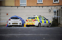 Police at the scene where a body has been discovered in a white Kia car at a Council owned car park near The Kingsway, Swansea, Wales, UK. Sunday 05 February 2017
