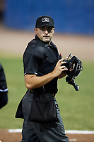 Umpire Thomas Fornarola during a game between the Lowell Spinners and Batavia Muckdogs on July 14, 2018 at Dwyer Stadium in Batavia, New York.  Lowell defeated Batavia 8-4.  (Mike Janes/Four Seam Images)
