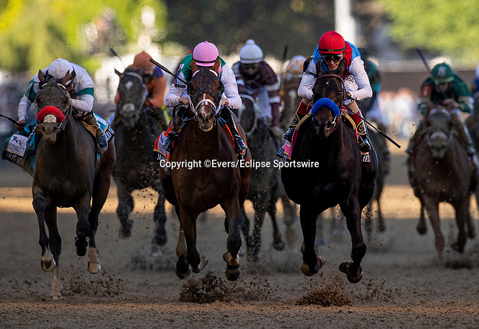 MAY 01, 2021:  Medina Spirit with John Velazquez (red. Cap) defeated MAndaloun and Florent Geroux and Hot Rod Charlie with Flavien Prat to win the 2021 Kentucky Derby at Churchill Downs in Louisville, Kentucky on May 1, 2021. EversEclipse Sportswire/CSM