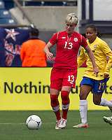 Canadian midfielder Sophie Schmidt (13) dribbles. In an international friendly, Canada defeated Brasil, 2-1, at Gillette Stadium on March 24, 2012.