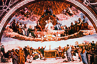 """Vatican:  Raphael's Rooms--""""The Dispute"""", a fresco by Raphael in a reception room (Segnatura) of the Palace of the Vatican."""