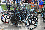 Vacansoleil-DCM Pro Cycling Team Bianchi bikes lined up before the Prologue of the 99th edition of the Tour de France 2012, a 6.4km individual time trial starting in Parc d'Avroy, Liege, Belgium. 30th June 2012.<br /> (Photo by Eoin Clarke/NEWSFILE)