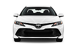Car photography straight front view of a 2018 Toyota Camry LE Auto 4 Door Sedan