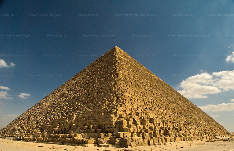 """Giza, Cairo, Egypt -- Viewed from one corner, the Great Pyramid (the pyramid of Khufu, or Cheops) looks like an easily climbed staircase.  Without perspective, it is hard to see that each """"step"""" is about 3-5 feet tall. © Rick Collier / RickCollier.com."""