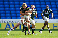 Jamie Gibson of London Irish is tackled during the Aviva Premiership match between London Irish and Bath Rugby at the Madejski Stadium on Saturday 22nd September 2012 (Photo by Rob Munro)