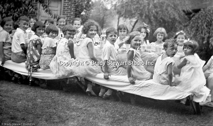 Wilkinsburg PA:  View of Sally Stewart's 7th birthday party in the backyard of the Stewart's Wilkinsburg home.