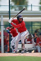 GCL Twins Francisco Martinez (13) at bat during a Gulf Coast League game against the GCL Pirates on August 6, 2019 at Pirate City in Bradenton, Florida.  GCL Twins defeated the GCL Pirates 4-2 in the first game of a doubleheader.  (Mike Janes/Four Seam Images)