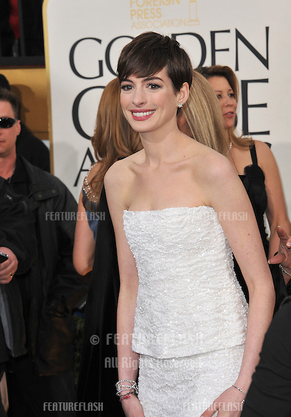 Anne Hathaway at the 70th Golden Globe Awards at the Beverly Hilton Hotel..January 13, 2013  Beverly Hills, CA.Picture: Paul Smith / Featureflash
