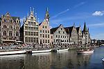Belgium, Oost Vlaanderen, Ghent: Canal tour and buildings along the Graslei