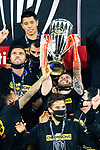Andre-Pierre Gignac of Tigres UANL (MEX) lifts the championship trophy with team mates after winning their CONCACAF Champions League Final match against Los Angeles FC (USA) at the Orlando's Exploria Stadium on 22 December 2020, in Florida, USA. Photo by Victor Fraile / Power Sport Images