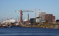 Nederland  Amsterdam -  2020.   Amsterdam-Noord. Op de achtergrond een cruiseschip van TUI. Het cruiseschip ligt in het dok. Rechts nieuwbouw bij de NDSM Werf.  Foto : ANP/ HH / Berlinda van Dam