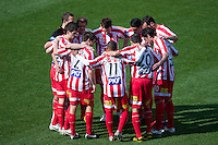 MELBOURNE, AUSTRALIA - SEPTEMBER 19, 2010: Heart players in a pre-match huddle in Round 7 of the 2010 A-League between the Melbourne Heart and Wellington Phoenix at AAMI Park on September 19, 2010 in Melbourne, Australia. (Photo by Sydney Low / Asterisk Images)