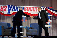 Philadelphia, PA - Saturday January 20, 2018: JP Dellacamera, Carlos Cordeiro during the U.S. Soccer Federation Presidential Election Candidates Forum hosted by US Youth Soccer at the Philadelphia Marriott Downtown Grand Ballroom.