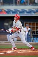 Palm Beach Cardinals left fielder J.B. Woodman (19) follows through on a swing during a game against the Charlotte Stone Crabs on April 20, 2018 at Charlotte Sports Park in Port Charlotte, Florida.  Charlotte defeated Palm Beach 4-3.  (Mike Janes/Four Seam Images)