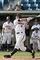 Joe Sever #9 of the Pepperdine Waves bats against the Texas A&M Aggies at Eddy D. Field Stadium on March 23, 2012 in Malibu,California. Texas A&M defeated Pepperdine 4-0.(Larry Goren/Four Seam Images)