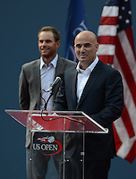 FLUSHING NY- SEPTEMBER 9: Andre Agassi and Andy Roddick during an on court cermony before Serena Williams Vs Victoria Azarenka in the Womens  finals on Arthur Ashe Stadium at the USTA Billie Jean King National Tennis Center on September 9, 2012 in in Flushing Queens. Credit: mpi04/MediaPunch Inc. ***NO NY NEWSPAPERS*** /NortePhoto.com<br /> <br /> **CREDITO*OBLIGATORIO** *No*Venta*A*Terceros*<br /> *No*Sale*So*third*...