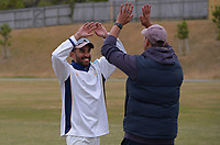 Johnsonville captain Raki Weerasundara and coach Andrew Lamb. Day three of the Pearce Cup Wellington men's cricket final between Johnsonville and Taita at Alex Moore Park in Johnsonville, New Zealand on Sunday, 28 March 2021. Photo: Dave Lintott / lintottphoto.co.nz