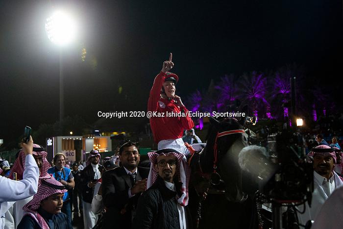 RIYADH,SAUDI ARABIA-FEB 28: Sabeq'hom, ridden by Sibylle Vogt,wins the 4th leg of International Jockeys Challenge at King Abdulaziz Racetrack on February 28,2020 in Riyadh,Saudi Arabia. Kaz Ishida/Eclipse Sportswire/CSM