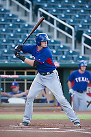 AZL Rangers designated hitter Sam Huff (12) at bat against the AZL Indians on August 26, 2017 at Goodyear Ball Park in Goodyear, Arizona. AZL Indians defeated the AZL Rangers 5-3. (Zachary Lucy/Four Seam Images)