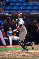 Brevard County Manatees catcher Fidel Pena (18) looks for a foul ball popup during a game against the St. Lucie Mets on April 17, 2016 at Tradition Field in Port St. Lucie, Florida.  Brevard County defeated St. Lucie 13-0.  (Mike Janes/Four Seam Images)