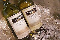 In the Sheraton Hotel Restaurant Bottles in an ice bucket with ice and water of Terrazas de los Andes Reserva Chardonnay 2003, Mendoza, Argentina, South America