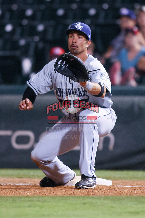Mike Cervenak (35) in action during the MiLB matchup between the New Orleans Zephyrs and the Oklahoma City Redhawks at Chickasaw Bricktown Ballpark on June 10th, 2012 in Oklahoma City, Oklahoma. The Redhawks defeated the Zephyrs 12-9  (William Purnell/Four Seam Images)