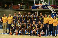 MEDELLÍN - COLOMBIA, 25-08-2017: Jugadores de Colombia durante los actos protocolarios previo a partido entre Brasil y Colombia de la fase de grupos, grupo A, de la FIBA AmeriCup 2017 jugado en el coliseo Iván de Bedout de la ciudad de Medellín.  El AmeriCup 2017 se juega  entre el 25 de agosto y el 3 de septiembre de 2017 en Colombia, Argentina y Uruguay. / Players of Colombia during formal events prior the match between Brazil and Colombia of the group stage Group A of the FIBA AmeriCup 2017 played at Ivan de Bedout  coliseum in Medellin. The AmeriCup 2017 is played between August 25 and September 3, 2017 in Colombia, Argentina and Uruguay. Photo: VizzorImage / León Monsalve / Cont