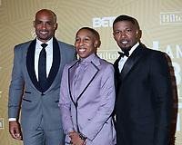 LOS ANGELES - FEB 23:  Boris Kodjoe, Lena Waithe, Jamie Foxx at the American Black Film Festival Honors Awards at the Beverly Hilton Hotel on February 23, 2020 in Beverly Hills, CA