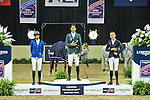 19 April 2015: Steve Guerdat wins the 2015 Longines FEI World Cup Jumping Final with Penelope Leprevost in second and Bertram Allen in third.