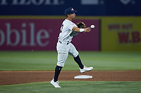 Somerset Patriots third baseman Oswaldo Cabrera (3) makes a throw to first base against the Altoona Curve at TD Bank Ballpark on July 24, 2021, in Somerset NJ. (Brian Westerholt/Four Seam Images)
