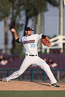 Mark Sappington #25 of the Inland Empire 66ers pitches against the Bakersfield Blaze at San Manuel Stadium on August 21, 2014 in San Bernardino, California. Inland Empire defeated Bakersfield, 3-1. (Larry Goren/Four Seam Images)