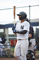 GCL Yankees East right fielder Jonathan Amundaray (60) at bat during the first game of a doubleheader against the GCL Yankees West on July 19, 2017 at the Yankees Minor League Complex in Tampa, Florida.  GCL Yankees West defeated the GCL Yankees East 11-2.  (Mike Janes/Four Seam Images)