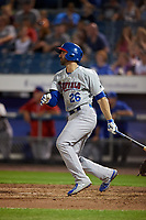 Buffalo Bisons second baseman Jason Leblebijian (26) follows through on a swing during a game against the Syracuse Chiefs on September 2, 2018 at NBT Bank Stadium in Syracuse, New York.  Syracuse defeated Buffalo 4-3.  (Mike Janes/Four Seam Images)