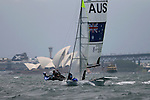 49er class at the Sydney International Regatta 2008..Held annually the Sydney International Regatta (SIRs)  has been categorized by ISAF as a Grade 1 event of the Laser, Laser Radial, Finn, 470, 49er and RS:X. A Grade 2 event for the Ynglings, however this year will include the Yngling Australian Championships..Other classes invited include the Moth, 420, 29er Laser 4.7 and the A Class Catamaran. This year the A Class Catamaran is holding their World Championships at Belmont, NSW and the SIRs will be a Pre Worlds regatta for the Class.  Entries are restricted to 25 and A Class competitors are invited to enter through their association.