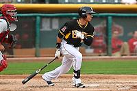 Efren Navarro (16) of the Salt Lake Bees at bat against the Memphis Redbirds at Smith's Ballpark on June 18, 2014 in Salt Lake City, Utah.  (Stephen Smith/Four Seam Images)