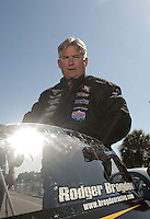 Mar. 12, 2011; Gainesville, FL, USA; NHRA pro stock driver Rodger Brogdon during qualifying for the Gatornationals at Gainesville Raceway. Mandatory Credit: Mark J. Rebilas-.
