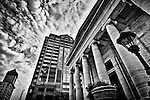 Old Courthouse Building and Fifth Third Bank, Dayton Ohio (soft, dramatic black and white)