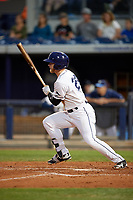 Charlotte Stone Crabs center fielder Jake Fraley (23) follows through on a swing during a game against the Palm Beach Cardinals on April 11, 2017 at Charlotte Sports Park in Port Charlotte, Florida.  Palm Beach defeated Charlotte 12-6.  (Mike Janes/Four Seam Images)