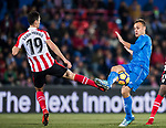 Juan Torres Ruiz, Cala, of Getafe CF (R) fights for the ball with Sabin Merino Zuloaga of Athletic Club de Bilbao (L) during the La Liga 2017-18 match between Getafe CF and Athletic Club at Coliseum Alfonso Perez on 19 January 2018 in Madrid, Spain. Photo by Diego Gonzalez / Power Sport Images