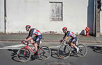 Caleb Ewan (AUS/Lotto-Soudal) escorted through town by Frederik Frison (BEL/Lotto-Soudal)<br /> <br /> Stage 10 from île d'Oléron (Le Château-d'Oléron) to Île de Ré (Saint-Martin-de-Ré)(169km)<br /> <br /> 107th Tour de France 2020 (2.UWT)<br /> (the 'postponed edition' held in september)<br /> <br /> ©kramon