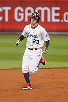 Cedar Rapids Kernels outfielder Austin Diemer (23) rounds the bases following his third inning home run during game five of the Midwest League Championship Series against the West Michigan Whitecaps on September 21st, 2015 at Perfect Game Field at Veterans Memorial Stadium in Cedar Rapids, Iowa.  West Michigan defeated Cedar Rapids 3-2 to win the Midwest League Championship. (Brad Krause/Four Seam Images)