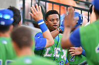 Right fielder Khalil Lee (9) of the Lexington Legends is congratulated after his second-inning home in a game against the Columbia Fireflies on Saturday, April 22, 2017, at Spirit Communications Park in Columbia, South Carolina. Lexington won, 4-0. (Tom Priddy/Four Seam Images)