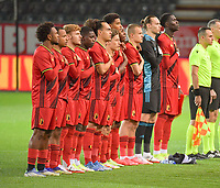 Belgian players at the line up before a soccer game between the national teams Under21 Youth teams of Belgium and Denmark on the fourth matday in group I for the qualification for the Under 21 EURO 2023 , on tuesday 12 th of october 2021  in Leuven , Belgium . PHOTO SPORTPIX   STIJN AUDOOREN