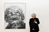London, UK - 14 October 2020<br /> British artist Maggi Hambling with Laughing, 2018, at her new exhibition at Marlborough Gallery, where she has a solo exhibition to coinciding with her 75th birthday, featuring recent paintings responding to the seismic events of the present, works include a new series of self-portraits created in lockdown, a series depicting wild animals facing threat and intimate portraits of people laughing.<br /> CAP/JOR<br /> ©JOR/Capital Pictures