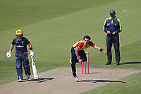 Jack Plom in bowling action for Essex during Glamorgan vs Essex Eagles, Vitality Blast T20 Cricket at the Sophia Gardens Cardiff on 13th June 2021