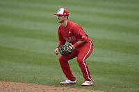 North Carolina State Wolfpack second baseman J.T. Jarrett (15) on defense against the North Carolina Tar Heels at Boshamer Stadium on March 27, 2021 in Chapel Hill, North Carolina. (Brian Westerholt/Four Seam Images)
