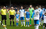 Motherwell v St Johnstone…05.05.18…  Fir Park    SPFL<br />Steven MacLean in his last game for saints takes on the role of captain and leads the team out with his daughter Ruby (right) and neice Madison Smith<br />Picture by Graeme Hart. <br />Copyright Perthshire Picture Agency<br />Tel: 01738 623350  Mobile: 07990 594431
