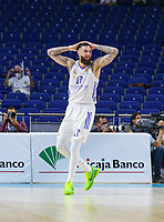 13th October 2021; Wizink Center; Madrid, Spain; Turkish Airlines Euroleague Basketball; game 3; Real Madrid versus AS Monaco; Vincent Poirier (Real Madrid Baloncesto) vicent surprised after being judges ti have fouled on his way to the net