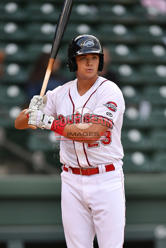 Third baseman Bobby Dalbec (23) of Greenville Drive bats in a game against the Greensboro Grasshoppers on Tuesday, April 25, 2017, at Fluor Field at the West End in Greenville, South Carolina. Greenville won, 5-1. (Tom Priddy/Four Seam Images)